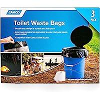 Camco 厕所垃圾袋 - 耐用的双袋设计防漏,内部袋凝胶适合任何液体,非常适合露营、远足和狩猎等,3 件装 (4154…