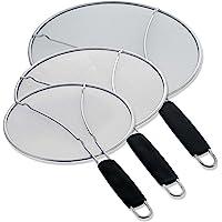 U.S. Kitchen Supply 套装 13 英寸、11.5 英寸、9.5 英寸不锈钢细网眼飞溅屏幕带休息脚,黑色…