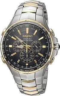 SEIKO 男式收音机同步太阳能计时双色手表,黑色表盘