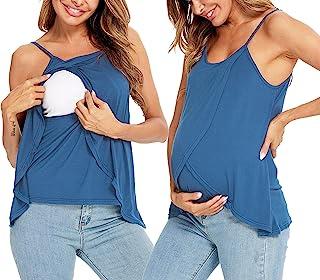 LecGee 3 合 1 分娩孕妇哺乳背心哺乳 T 恤双层无袖孕妇吊带上衣