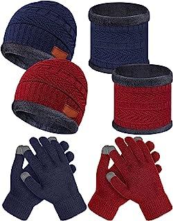 6 件套儿童冬季帽保暖围巾触摸屏手套套装针织骷髅儿童帽柔软衬里幼儿无檐*帽圈围巾颈部保暖厚手套手套适合 5-14 岁儿童(灰色,黑色)
