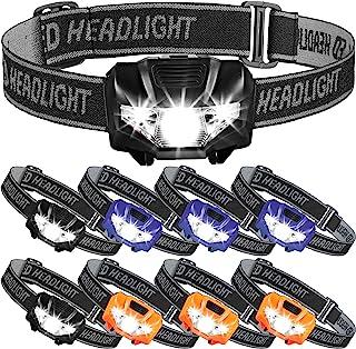9 件便携式头灯手电筒 LED 3 种模式头灯轻质防水防尘大灯 3 种颜色适用于户外跑步、露营、阅读、钓鱼、狩猎、徒步、散步、慢跑