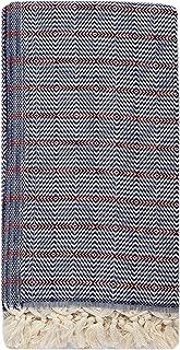 Fringe Home 条纹土耳其海滩/浴巾 Hamam Peshtemal 毛巾 - 预洗,* 天然棉(地毯图案 - *蓝)