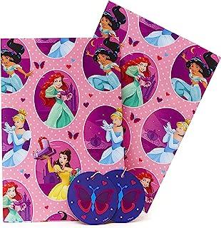 UK Greetings 迪士尼公主礼品包装纸 - 迪士尼女孩包装纸 - 包括 2 个礼品标签 - Disney Princess 生日礼物 - 儿童礼品卡