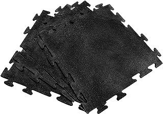 拼图型健身房地板,颜色黑色,包含 4 件 19 x 19 x 1/4 英寸(约 48.2 x 48.3 x 0.6 厘米)厚,采用高品质橡胶制成,非常适合健身房和家庭健身区域。