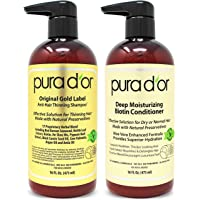 Pura D'or 生物素原始金标防掉发洗发水和护发素套装,经过测试的有效解决方案,含天然成分,适合所有发质,男女通用…