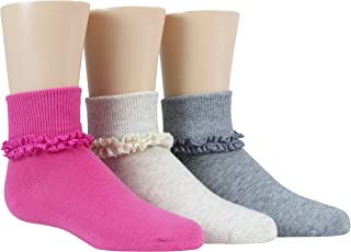 Stride Rite Little Girls' 3 Pack Girls Comfort Seam Turn Cuff