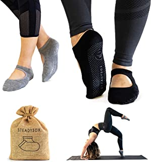 SteadySox 女士瑜伽袜防滑抓地力袜,适用于普拉提、杆、*、舞蹈和锻炼