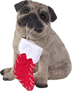 Sandicast Fawn Pug with Stocking Christmas Ornament