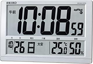 SEIKO 精工 时钟 挂钟 台式时钟 两用 电波 数码 日历 六曜 温度 湿度 显示 大型 银色 金属 SQ433S SEIKO