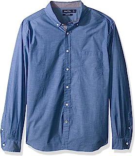 Nautica 男士高大经典修身弹力纯色长袖系扣衬衫