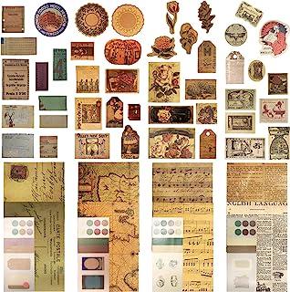 160 件文艺复兴系列复古剪纸剪贴簿包复古日记项目用品邮票贴纸用品旧棕色纸复古剪贴簿配件DIY工艺品