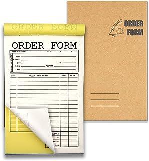 Lesnala 2 件套无碳订单表格垫 2 件,每套 50 套,白色/黄色 14x21 厘米(5.5 x 8.25 英寸),可用于商店、仓库、办公室、餐厅等作为标志收据、销售表格、发票购买等