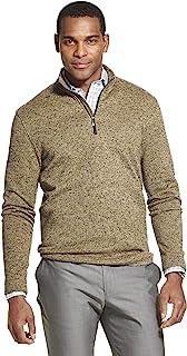 Van Heusen 男式 Flex 长袖 1/4 拉链软毛衣羊毛 铝 Small