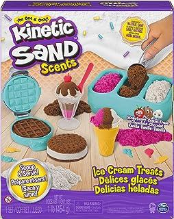 Kinetic Sand Scent,冰淇淋零食套装,带 3 种颜色的天然香味沙和 6 种服务工具