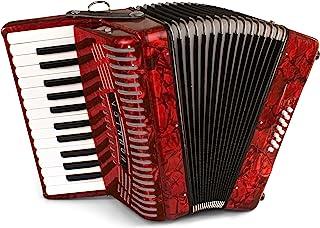 Hohner 手风琴 1303-RED 12 低音入门级钢琴手风琴,红色