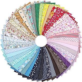 50 件纯棉工艺面料套装方形拼接 25.4 x 25.4 厘米花卉图案印花绗缝缝纫布用于DIY剪贴簿工艺品
