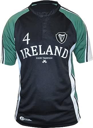 Croker 爱尔兰橄榄球衫,吸湿面料,黑色和绿色