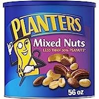 Planters 海盐混合坚果,56盎司/1.58千克 可重新密封的罐装,烤坚果:少于50%的花生,杏仁,腰果,山核桃和…