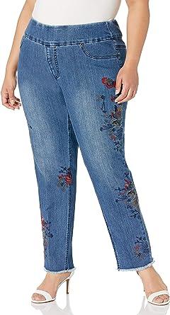 SLIM-SATION 女式加大码套穿纯色流苏下摆饰边及踝裤