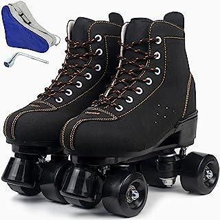 女士溜冰鞋 4 轮滑冰 闪亮 速度滑冰 适合男孩女孩成人 男女通用 适合室内和室外 赠送礼物