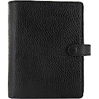 Filofax 2021 Finsbury 黑色 – 口袋,传统粒面皮革,6 个环,包括 2 页日历记事本,多语言 (C…