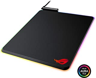华硕 ROG Balteus 垂直游戏鼠标垫,带硬质微纹理游戏表面,USB 传递,Aura Sync RGB 照明和防滑底座(12.6 英寸 X 14.6 英寸)