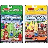 Melissa & Doug Water Wow 可重复使用的神奇显色儿童画板,创意水画板,两片装,汽车,动物