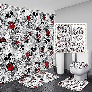 米老鼠浴帘 4 件套,带防滑地毯马桶盖和浴室垫,可爱浴帘带 12 个挂钩耐用防水面料浴帘 182.88 x 182.88 厘米