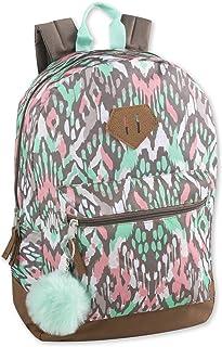 女孩时尚背包带加固乙烯基底部和绒球钥匙扣