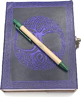 这款 Sweet Earth 皮革日记本 带锁闩凯尔特人或生命树设计 带笔(紫色生命树,12.7 厘米 x 17.78 厘米)