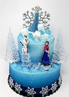 Winter Wonderland Princess Elsa 冰雪奇缘生日蛋糕装饰套装,包含安娜、艾莎、雪宝和装饰主题配件