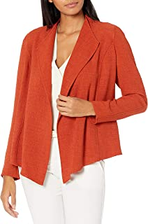 Kasper 女式长袖混色绉纱短款褶皱前夹克