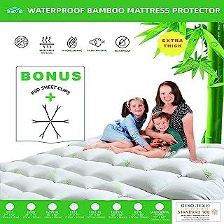 超厚床尺寸竹纤维床垫套;冷却、防水和透气;3X 超厚床垫罩;适合深 45.72 厘米;床笠风格;理想