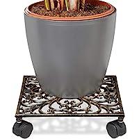 Relaxdays 铸铁植物底托 圆形或方形 带金属滚轮花盆手推车 4轮新艺术风格多肉植物金属底托,坚固且防潮青铜
