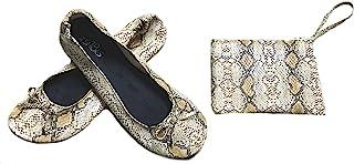 Shoes 18 女士可折叠便携式旅行芭蕾平底鞋带配套手提箱 蛇棕褐色 7/8 B(M) US