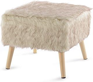 Cheer Collection 装饰人造毛皮脚凳带实木桌腿