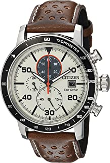 Citizen CA0649-06X Men's Brycen Eco-Drive Beige Dial Brown Leather Strap Chronograph Watch
