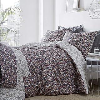 Muse 抽象羽绒被套和枕套床上用品套装,密织棉,多色,大号双人床