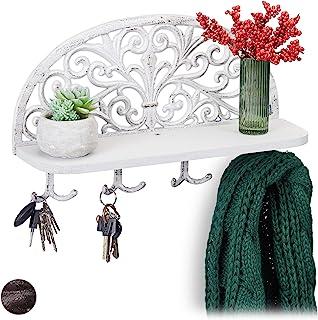 Relaxdays 带架子的墙面衣柜,复古设计,4 个双钩,钥匙板,铸铁,高宽深:23x39x11.5 厘米,颜色选择 白色 1 Stück 10028988_49
