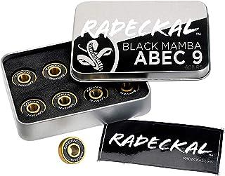 RADECKAL Black Mamba ABEC 9 滑板轴承,内置垫片,适用于滑板、长板、巡洋舰、预润滑、高精度评级、持久、608 RS(1 套 8 个)..