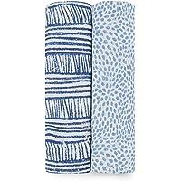 aden + anais 襁褓毯,女孩和男孩精品平纹细布毯,婴儿包巾,理想的新生儿和婴儿襁褓套装,完美的淋浴礼物,2件装…