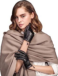 YISEVEN 女式触摸屏羊皮皮革手套拉链短袖口