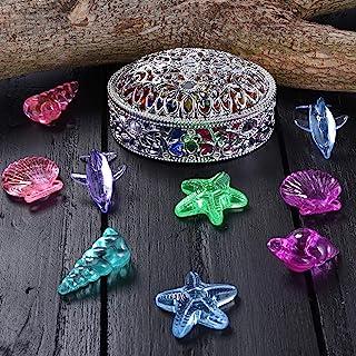 Hercugifts 潜水宝石泳池玩具彩色海洋主题钻石套装与宝藏海盗盒夏季游泳宝石潜水玩具套装潜水投掷玩具包括海星海螺和海豚宝石(银色白色)