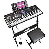 RockJam 61键盘钢琴套件 61 键数字钢琴键盘支架耳机持续踏板和简单的钢琴应用