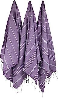 土耳其 Peshtemals - * 纯棉土耳其毛巾,臀围 超大沙滩浴巾 - 泳池野餐和海滩海滩的家居装饰 - 三种颜色 - 中性 - 紫红色,紫色