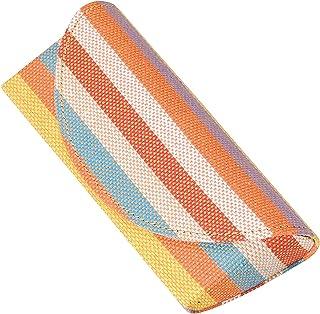 カラフルボーダー 女性 婦人用 コンパクト ソフト メガネケース 橙色
