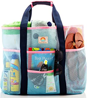 网眼沙滩包 - 大家庭手提袋 女式 - 额外存储空间带 9 个口袋,舒适的肩带适用于海滩、泳池和泳池。