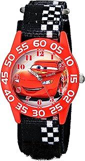 Disney W001679 汽车塑料手表,黑色方格尼龙表带
