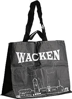 W:O:A – Wake Open Air 购物袋,双面印花带锯齿天际线,骷髅头和刻字,抗撕裂塑料,尺寸约42 x 55.5 x 25厘米